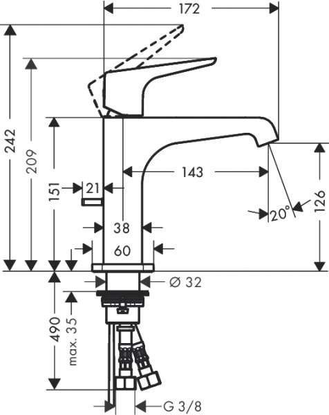 Rysunek techniczny baterii umywalkowej Axor Citterio E 36110000-image_Hansgrohe_36110000_3