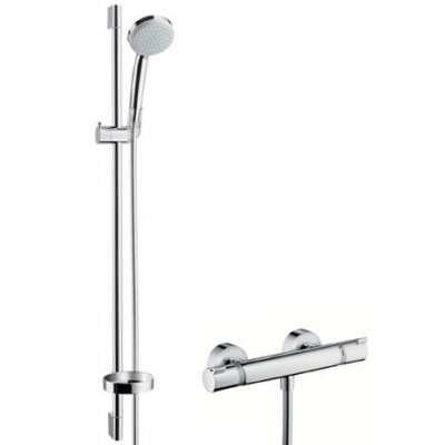 Zestaw baterii prysznicowej z termostatem oraz zestawem prysznicowym na drążku Hansgrohe 27033000-image_Hansgrohe_27033000_3