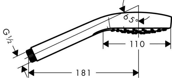 Wymiary techniczne słuchawki prysznicowej Hansgrohe Croma Select 26814400-image_Hansgrohe_26814400_4