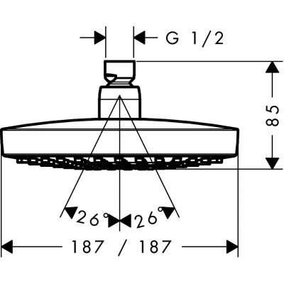 Wymiary techniczne deszczownicy Croma Select E-image_Hansgrohe_26524400_3