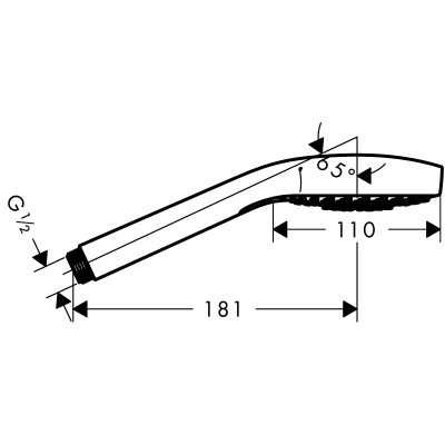 Wymiary techniczne słuchawki prysznicowej Hansgrohe Croma Select 26 805 400-image_Hansgrohe_26805400_4