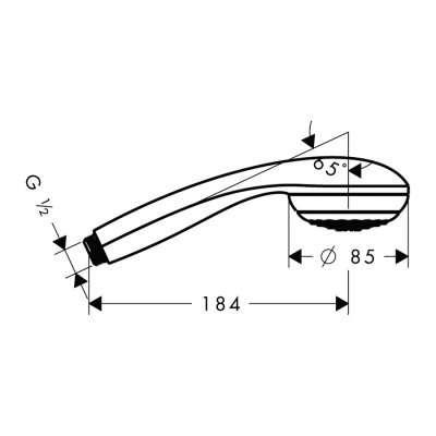 Rysunek techniczny słuchawki Crometta -image_Hansgrohe_28561000_3