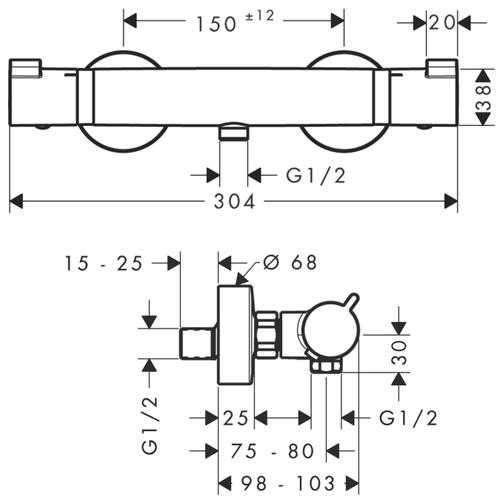 Rysunek techniczny baterii termostatycznej natyryskowej Hansgrohe Ecostat Comfort 13116000-image_Hansgrohe_13116000_3