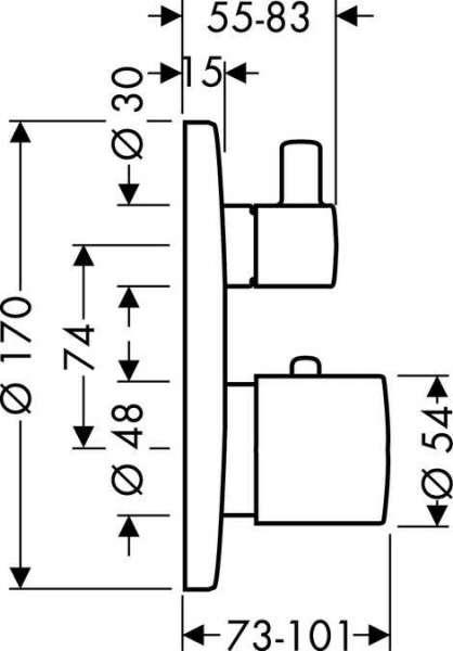 Wymiary termostatycznej baterii podtynkowej Hansgrohe Ecostat S 15721000-image_Hansgrohe_15721000_3