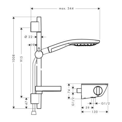 Rysunek techniczny kompletu Ecostat Select S150-image_Hansgrohe_27037400_3