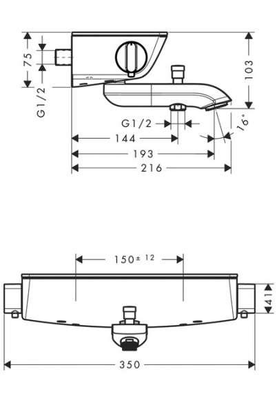 Wymiary techniczne termostatu wannowego Ecostat -image_Hansgrohe_13141400_2