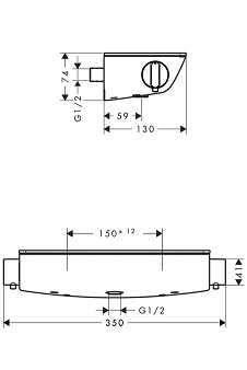 Rysunek techniczny baterii Hansgrohe Ecostat Select 13161000-image_Hansgrohe_13161000_3