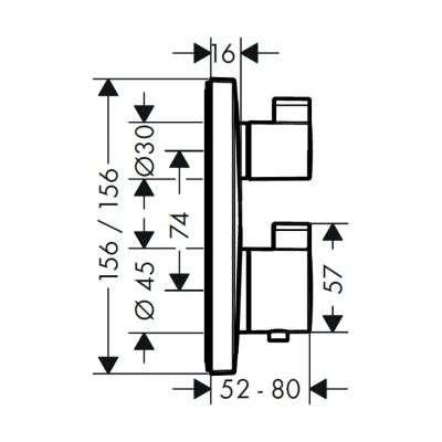 Wymiary techniczne podtynkowej baterii termostatycznej Hansgrohe 15712000-image_HansGrohe_15712000_5