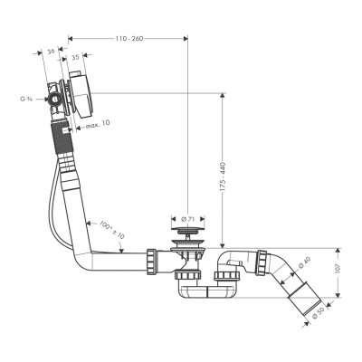 Rysunek techniczny syfonu wannowego z napełnianiem przez przelew Hansgrohe Exafil 58 113 000.-image_Hansgrohe_58113000_4