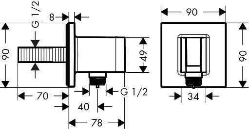 Rysunek techniczny przyłącza kątowego 26486000-image_Hansgrohe_26486000_4