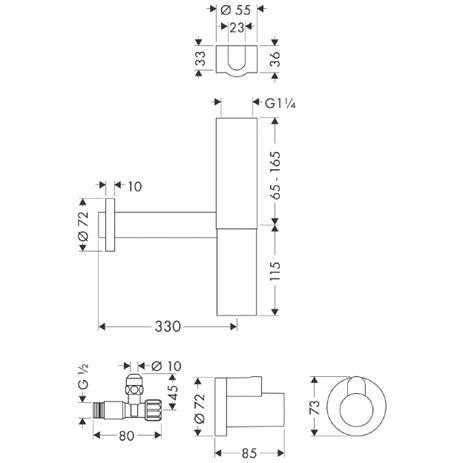 Rysunek techniczny odpływu Flowstar 52120 000-image_Hansgrohe_52120000_3