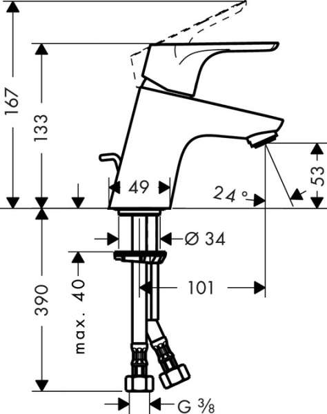 Wymiary techniczne baterii umywalkowej Hansgrohe Focus 31539000-image_Hansgrohe_31539000_3