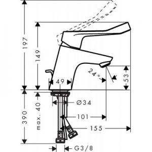 Wymiary techniczne armatury umywalkowej Hansgrohe Focus Care 31910000-image_Hansgrohe_31910000_2
