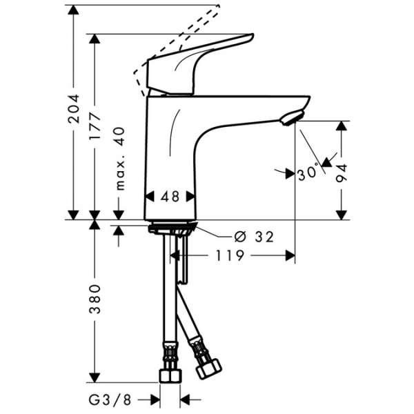 Wymiary techniczne baterii umywalkowej Hansgrohe Focus E2 31517000-image_Hansgrohe_31517000_4