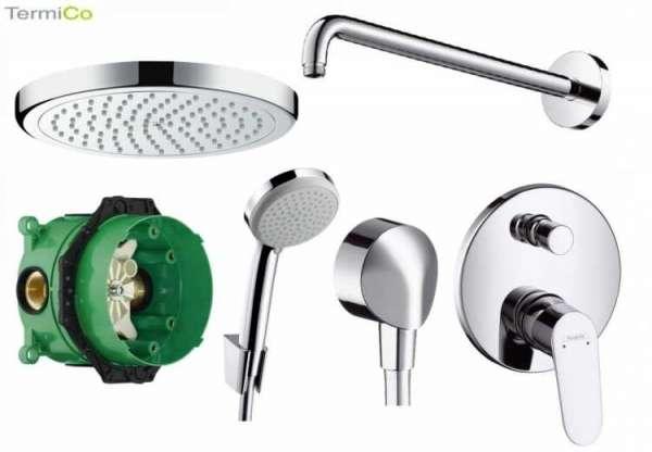 Promocyjny pakiet podtynkowy do każdej kabiny prysznicowej - podtynkowy Hansgrohe Focus E  z deszczownicą 220mm.-image_Hansgrohe_HGR/FOCUS E2/220SC_3