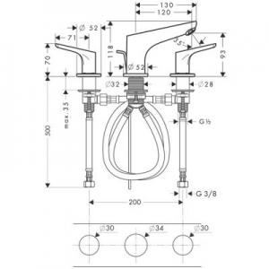 Rysunek techniczny baterii umywalkowej Hansgrohe Focus 31937000-image_Hansgrohe_31937000_2