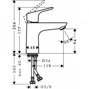Dane techniczne baterii umywalkowej Hansgrohe Focus 31509000-image_Hansgrohe_31509000_2