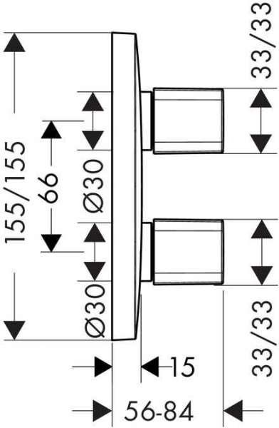 Wymiary techniczne elementu zewnętrznego baterii podtynkowej Hansgrohe PuraVida iControl 15777000-image_Hansgrohe_15777000_3