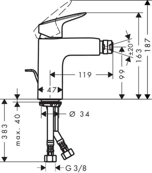 Wymiary techniczne baterii bidetowej Hansgrohe Logis 71200000-image_Hansgrohe_71200000_4