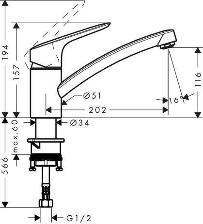 Wymiary techniczne baterii kuchennej Logis 71830000-image_Hansgrohe_71830000_3