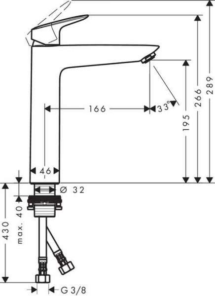 Rysunek techniczny baterii umywalkowej Hansgrohe Logis 71091000-image_Hansgrohe_71091000_3