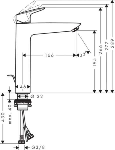 Wymiary techniczne wysokiej baterii Logis 71095000-image_Hansgrohe_71095000_3