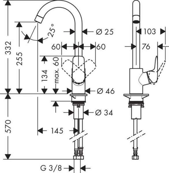 Wymiary techniczne baterii kuchennej Hansgrohe Logis 260 71835000-image_Hansgrohe_71835000_4