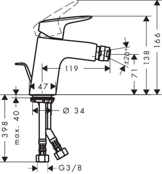 Wymiary techniczne baterii bidetowej Hansgrohe Logis 71204000-image_Hansgrohe_71204000_3