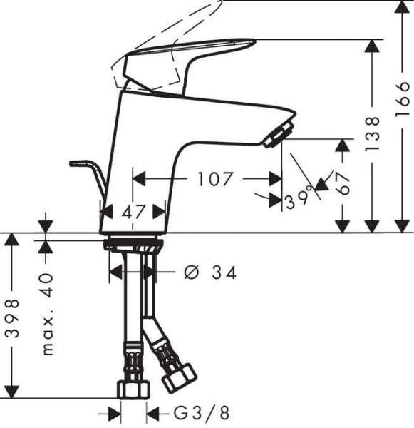 Rysunek techniczny baterii umywalkowej Hansgrohe Logis 71070000-image_Hansgrohe_71070000_5