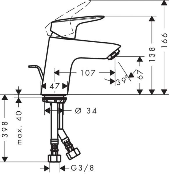 Wymiry techniczne baterii umywalkowej Logis 71072000-image_Hansgrohe_71072000_3