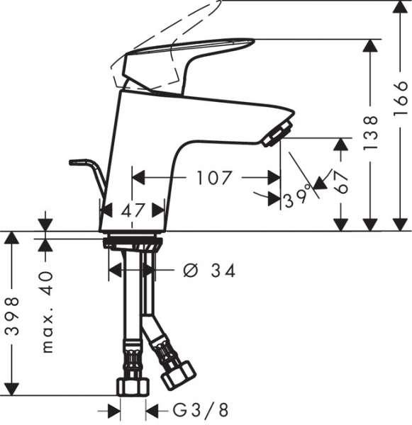 wymiary techniczne baterii umyalkowej Logis 71078000-image_Hansgrohe_71078000_3