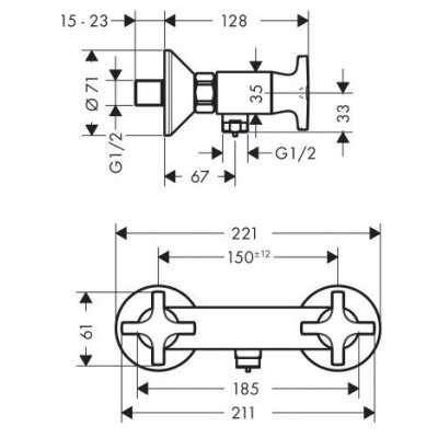 Wymiary baterii prysznicowej Hansgrohe Logis Classic 71260000-image_Hansgrohe_71260000_3