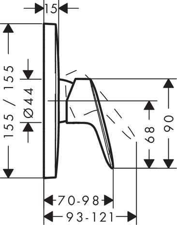 Wymiary techniczne podtynkowej baterii natryskowej Hansgrohe Logis 71605000-image_Hansgrohe_71605000_3