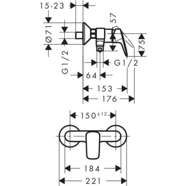 Rysunek techniczny baterii prysznicowej Hansgrohe Logis 7160000-image_Hansgrohe_71600000_5
