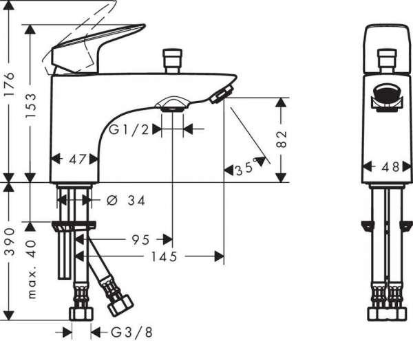 Rysunek techniczny baterii wannowej Hansgrohe Logis 71312000-image_Hansgrohe_71312000_3