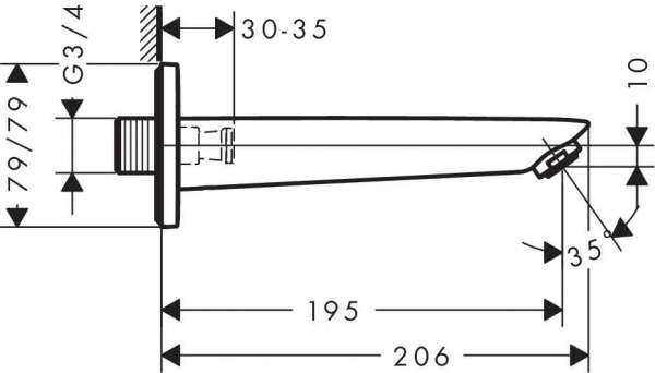 Wymiary techniczne wylewki wannowej Hansgrohe Logis 71410000-image_Hansgrohe_71410000_3
