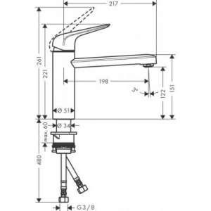 Wymiary techniczne baterii kuchennej Hansgrohe M421 71806000 -image_Hansgrohe_71806000_2