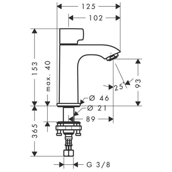 Wymiary techniczne baterii umywalkowej Hansgrohe Metris 31166000-image_Hansgrohe_31166000_4