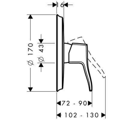Wymiary techniczne baterii prysznicowej podtynkowej Hansgrohe Metris Classic-image_Hansgrohe_31676000_4