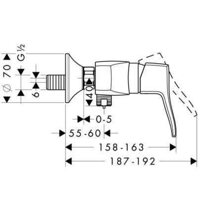 Wymiary techniczne baterii natryskowej Hansgrohe Metris Classic 31 672 000-image_Hansgrohe_31672000_4