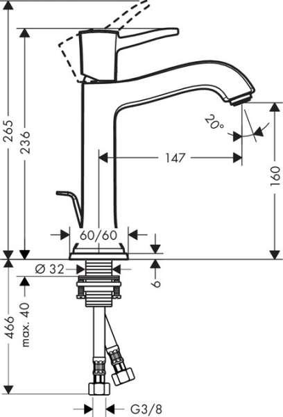 Wymiary techniczne baterii do umywalki z seri Metropol Classic 31302000-image_Hansgrohe_31302000_3