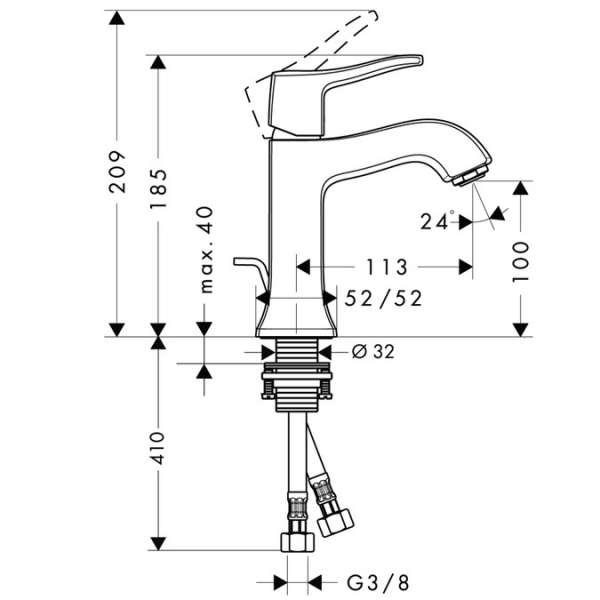 Wymiary techniczne baterii umywalkowej Metris Classic 31075000 -image_Hansgrohe_31075000_4