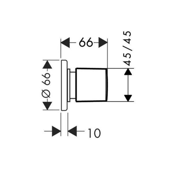 Wymiary techniczne pokrętła do zaworu odcinającego, Hansgrohe Metris E2 31677000 -image_Hansgrohe_31677000_3