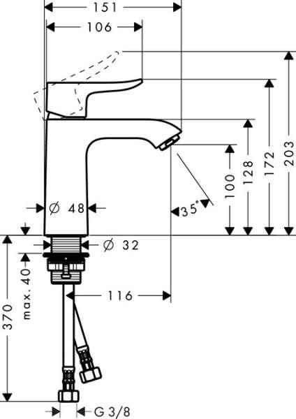 Wymiary techniczne baterii umywalkowej Metris E2 31204000-image_Hansgrohe_31204000_4