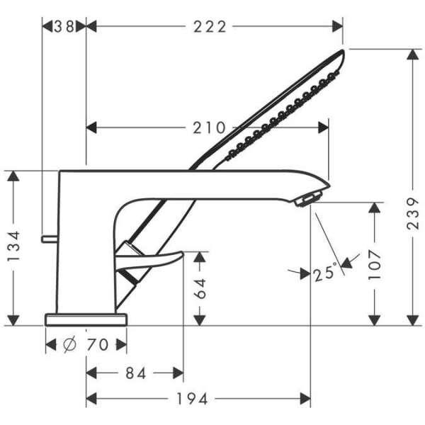 Wymiary techniczne 3 otworowej baterii wannowo prysznicowej Hansgrohe Metris E2 31190000-image_Hansgrohe_31190000_3