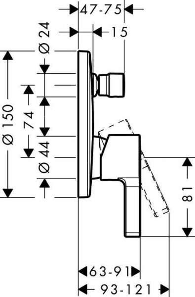 Wymiary techniczne baterii wannowej Metris S 31465000-image_Hansgrohe_31465000_5
