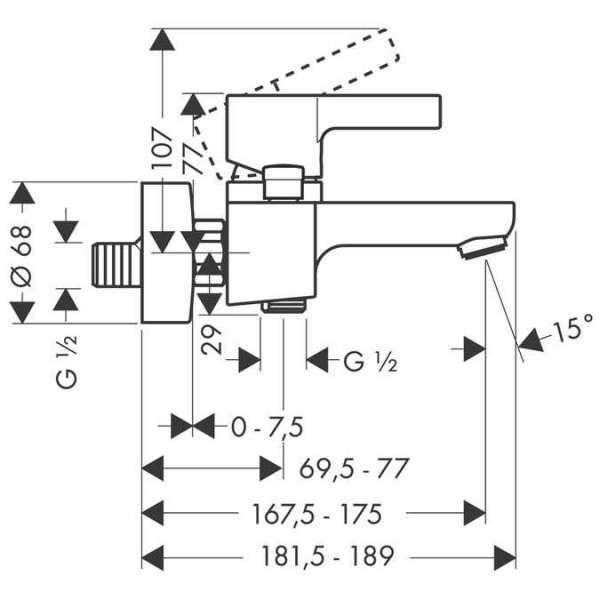 Wymiary techniczne baterii wannowej  Hansgrohe Metris S 31460000-image_Hansgrohe_31460000_5
