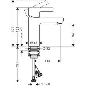 Wymiary techniczne baterii umywalkowej Hansgrohe Metris 31015000 -image_Hansgrohe_31015000_2