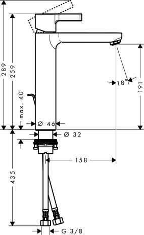Wymiary techniczne baterii umywalkowej Hansgrohe Metris S 31021000-image_Hansgrohe_31021000_4