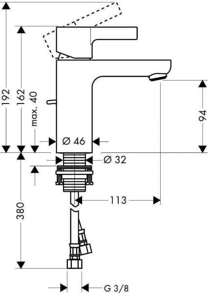 Wymiary techniczne baterii umywalkowej Metris S 31060000-image_Hansgrohe_31060000_6